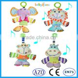 Babyfans 2015 Promotion Gift Plush Toys Good Quality Baby Musical Hanging Toys Soft Toys