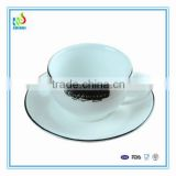 Plain white gold rim tea cup and saucer set wholesale