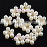 plastic button/pearl with rhinestone button- hair flower decoration
