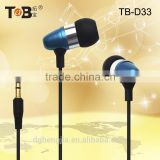 New type light weight flat wire heavy bass cheapest metal earphone for portable media player