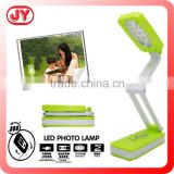 Folding green led desk lamp flexible rechargeable led desk lamp with photo frame and EN71