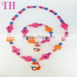 kids bead jewelry set girls favourite colorful environmental custom design elastic bracelet resin silicone bead bracelet