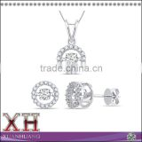 China Wholesale Sterling Silver White Cubic Zirconia Dancing Diamond Jewelry Set