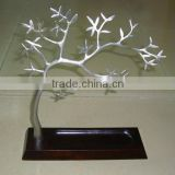 high end elegant classic silver iron with wood tray plum jewelry tree, unique design tree jewelry display stands