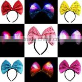 2016 light up sequin led bownot hair accessories have stock big bow headband