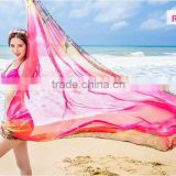 Hot selling summer sunscreen imitated silk fabric rose beach scarf dress