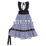 new design teenage girls backless chevron dress party wear one piece kid outfits