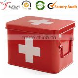 Red varnishing metal tin & tinplate first aid emergency box for family use and travelling use