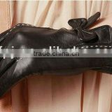 lady winer bowknot black tight lamb leather gloves