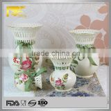 White gold rim hollow out decoration vase, ceramic white tall vase, design vase with riband