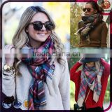Amazing New Arrival Wool Blend Blanket Oversized Tartan Scarf Wrap Shawl Plaid Checked Pashmina Check Scarfs