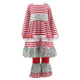 New fashion print baby girl outfit print suit costumes for kids Christmas outfit fall boutique girl clothing