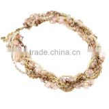 2016 China supplier latest design beads necklace baby pink crystal beads wrapped charm necklace