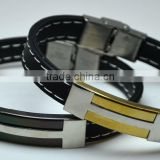 Personalized Metal Plate Black Gold Wholesale Magnetic Wrap Wristband H Shape Stainless Steel Mens Leather Bracelets