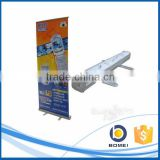 Advertising aluminum slim base roll up display stand, expo roll up banner stand for display