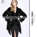 wholesale retail black rabbit fur handmade knitted big lapel tight weave women long coat