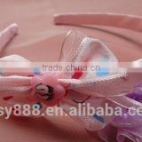 School style striped bow headband for young girls,handmade korean accessories hair hairdband cat ears headband