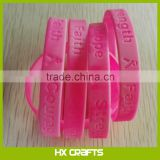 Wholesale Breast Cancer Awareness Pink Ribbon Silicone Wristband With Text Hope Strength Courage