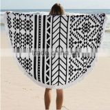 2016 New Summer Large Full Cotton Round Beach Towels With Tassel Reactive Printing Circle Beach Blanket