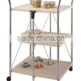 Folding Kitchen Wooden Serving Trolley food cart