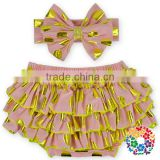 Soft Cotton Baby Bloomers Wholesale Girls Ruffle Diaper Covers Bloomers With Matched Headband