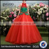 MGOO High Fashion Chinese Style Red Color Halter Maxi Prom Dress Ball Gown Tulle Green Toast Dress YDYS15B0083
