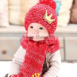 KS00032C wholesale bietiful gils fall and winter toddler baby knitted hat add fashion scarf sets