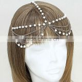 Multi Layers Wave Tassel Head Piece Pearl Beaded Hair Band Head Chain Jewelry