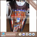 Sublimation white spanedix sleeveless men tshirt printing with DIY logo