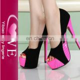 Latest Europe Fish Mouth Waterproof Color Matching High Heel Shoes