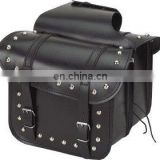 HMB-4017A LEATHER MOTORCYCLE SADDLE BAGS SET STUDDED STRAIGHT