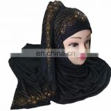 Black Color Stoles Hijab Scarf Designs With Golden Diamond Stone Work Embroidery 2017 (scarves scarf stoles hijab)