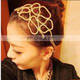 fashion hair accessories hollow filigree metal chain headband braided gold chain hair bands