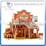 Mini Qute 3D Wooden Puzzle American western Bar architecture famous building Adult kids model educational toy gift NO.F138