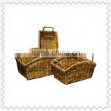 rectangular S/3 natural water hyacinh seagrass woven handle curved mouth nursery storage baskets