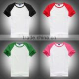 Bulk in Stock,Sublimation Blank color shoulder T shirt,95%Cotton 5%lycra,low Price,small MOQ,S-XXXL size