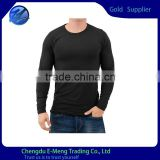 Wholesale Round Neck Solid Color Plain Black Mens Long Sleeve Tshirt