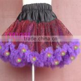 Novetly halloween party light up girl tutus, purple black soft chiffon girls led pettiskirt, whosale holiday kids dress costume