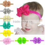Hot-sales kids solid fabric bow Headband girl large bow Hair band Toddler baby knotted Headband wh-1822