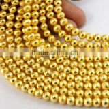 AAA Beautiful Natural 24k Gold Plated Copper Rondelle Round Shape Beads Finding Beads 7 inch 6mm Matte Finish Beads