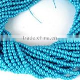 "5 Strands 4.5mm Smooth Rondelle Dark Sky Blue Glass Pearl,Acrylic Pearl beads,Jewelry Beads,Pearlized Beads,16"" Long"