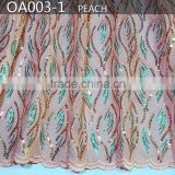 Fashion design 2016 best selling french lace organza embroidery fabric OA003-1 peach