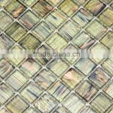 "0.8""x0.8"" wall decorative crystal goldline glass mosaic tile for iridescent mosaic home decoration"