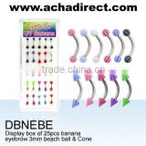 """25 Piece Display Box Eyebrow Bananas UV with 3mm beach balls and cones"