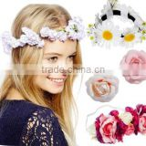 Handmade rose flowers Hair Accessories head wreath for wedding bridal headdress headband flower