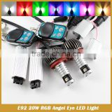 E92 H8 RGB Multi-Color 20W LED Angel Eyes Halo Ring Light Bulbs