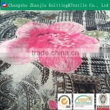 China manufacturer transfer printed velvet fabric panne velvet rose flower fabric for dress ZJ014