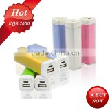 5V/0.8A 2600mah lipstick power bank portable battery powered outlet