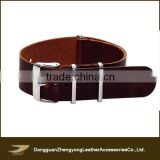 Vintage and distressed cowhide leather nato strap with 3 rings ,watch accessories from wholesale china manufacture
