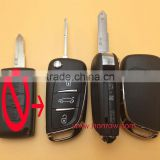 New arrival Citroen 3 button modified flip remote key blank cover case with NE73 206 Blade (with battery place)